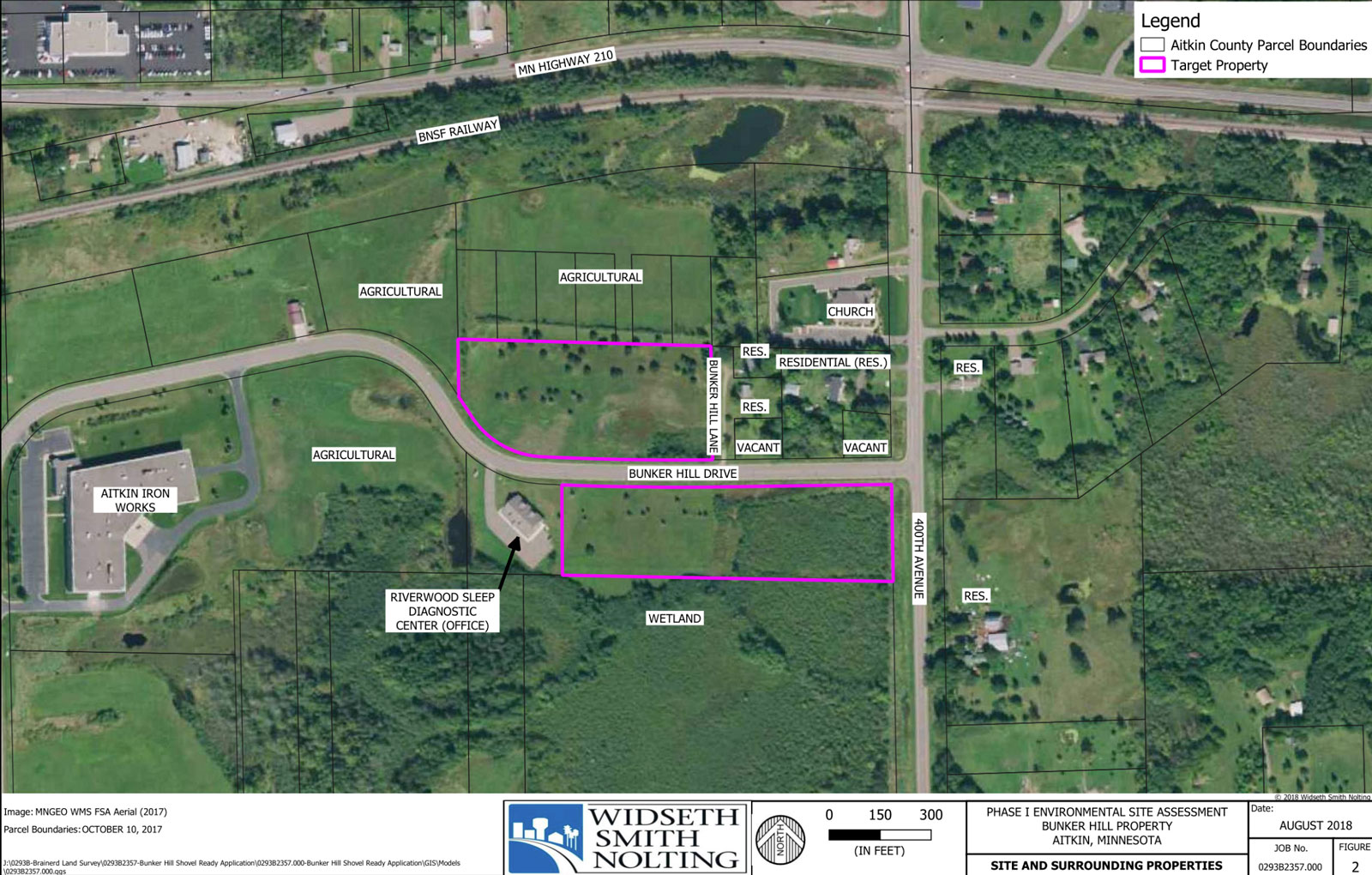 Diagram of available land in Airpark Industrial Park, Aitkin, MN