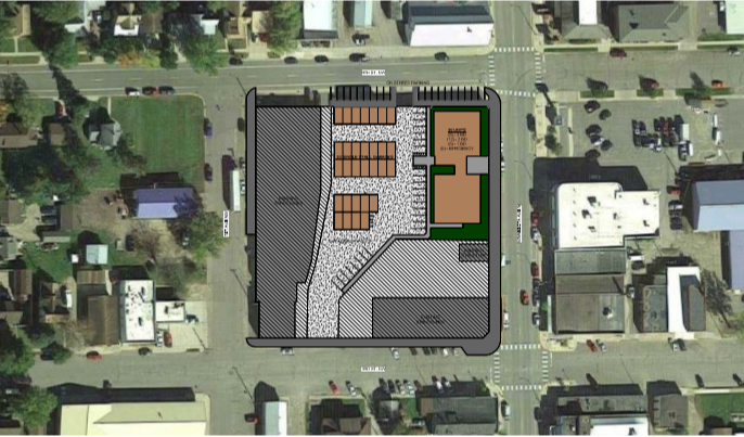 Overhead digram of housing project on map